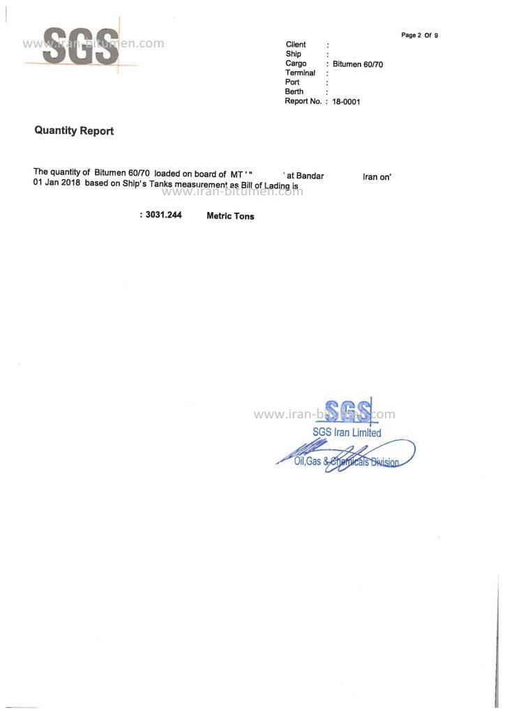 Bulk Bitumen SGS report